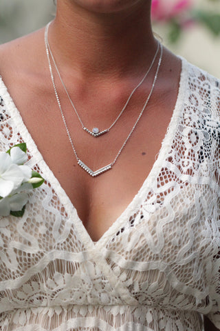 2 Layers Granulated Necklace with Moonstone - donbiujewelry  - 2