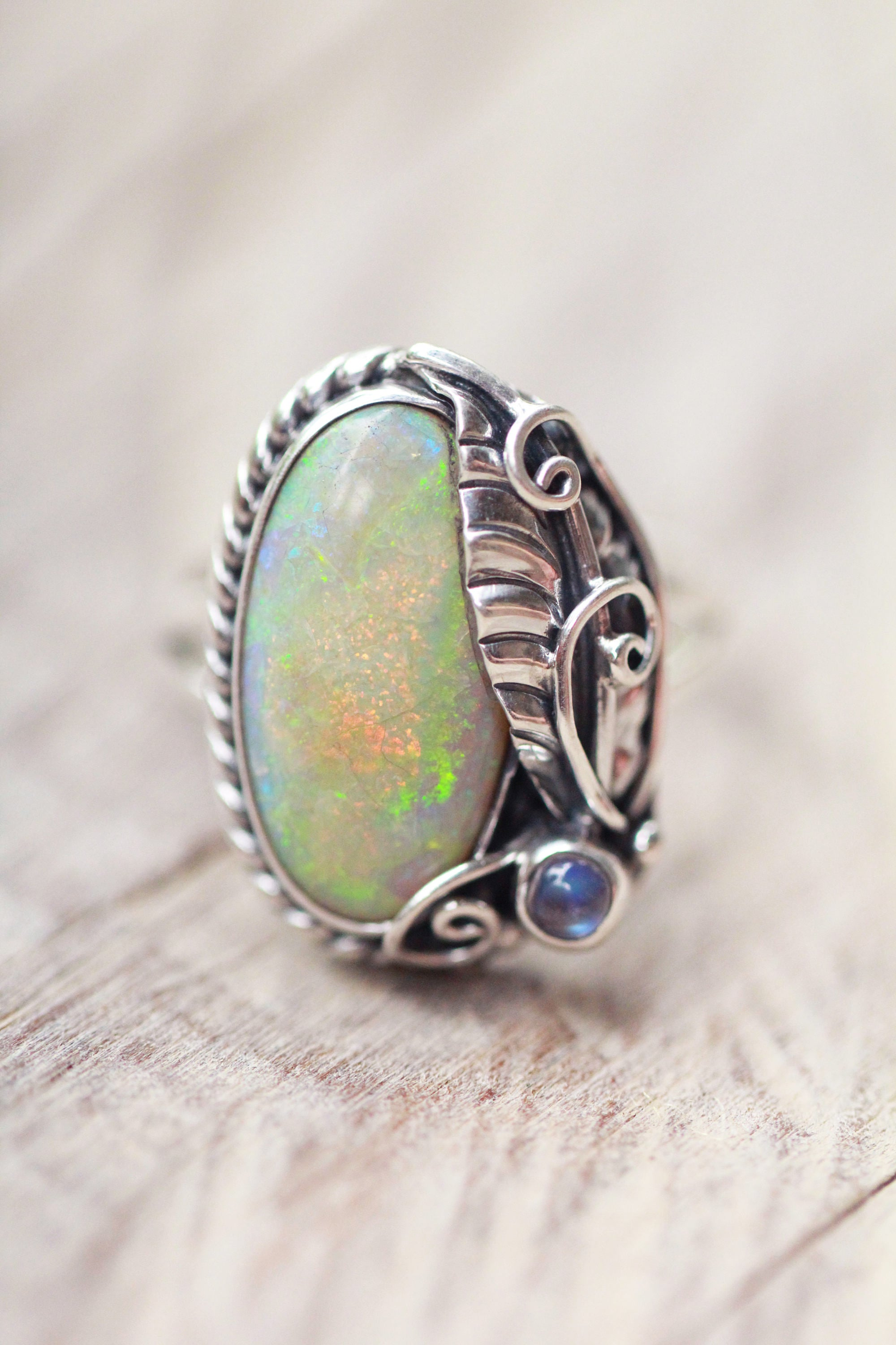 silver earrings claw ethiopian cut pin opal genuine setting sterling cabochon stud