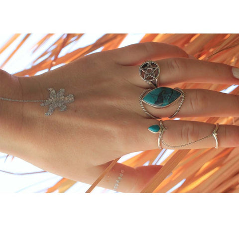 Chevron Turquoise Ring & Sterling Chain with Midi Ring - donbiujewelry  - 3