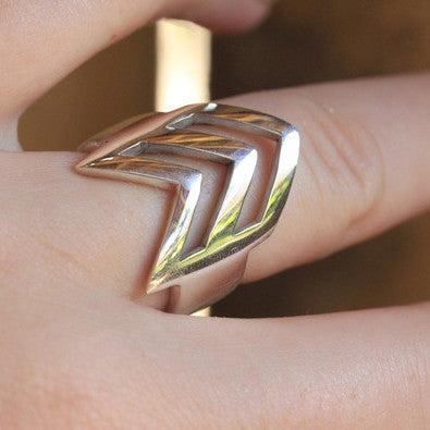 Chevron Ring in Solid 925 Sterling Silver - donbiujewelry  - 5