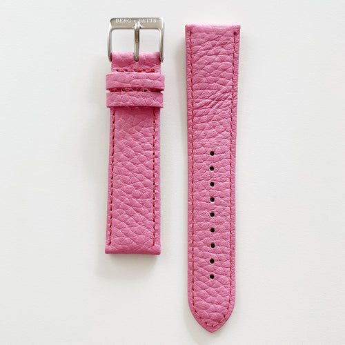 20mm sustainable leather watch strap in warm pink with silver closures
