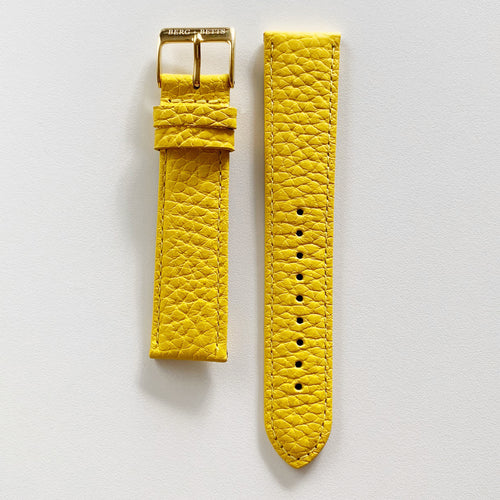 20mm sustainable leather watch strap in yellow with gold closures