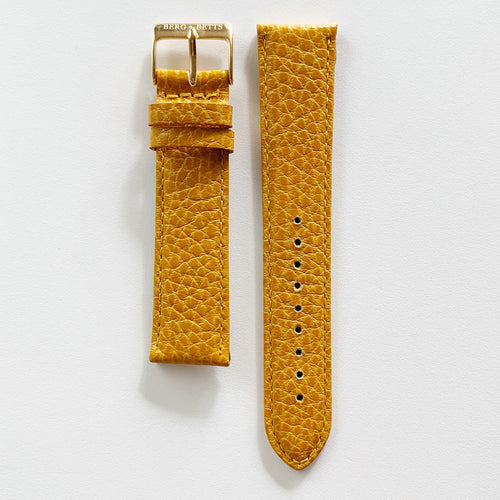 20mm sustainable leather watch strap in mustard yellow with gold closures