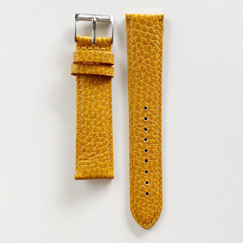 20mm sustainable leather watch strap in mustard with silver closures
