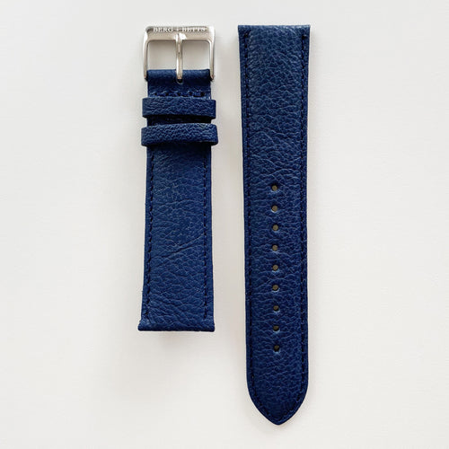 20mm sustainable leather watch strap in navy with silver closures