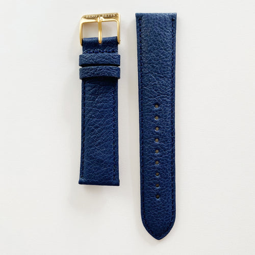 20mm sustainable leather watch strap in navy with gold closures