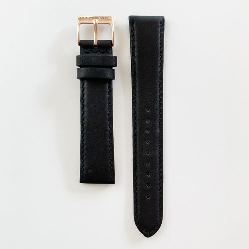 BERG+BETTS 18mm Sustainable Leather Black Watch Strap with Rose Gold Buckle