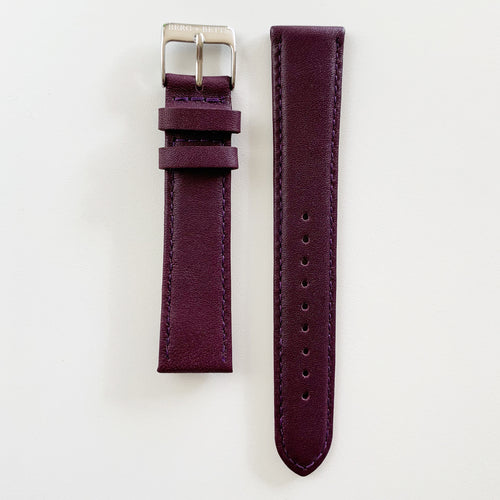 18mm sustainable leather watch strap in plum with silver closures