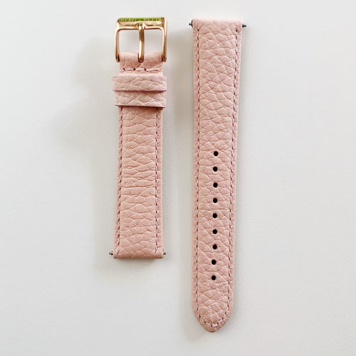 18mm sustainable leather watch strap in blush pink