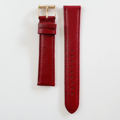 BERG+BETTS interchangeable straps created from leather that would have otherwise gone to waste | Burgundy and Rose Gold clasp