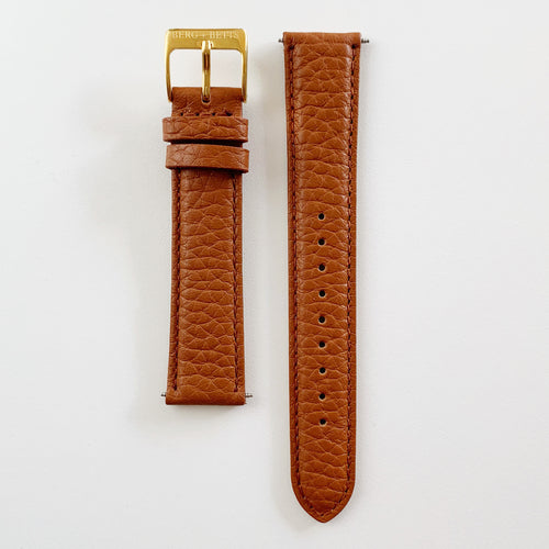 18mm sustainable leather watch strap in camel with gold closures