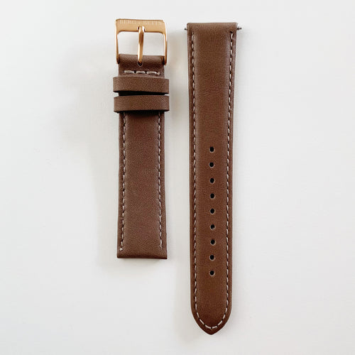 18mm sustainable leather watch strap in brown with rose gold closures