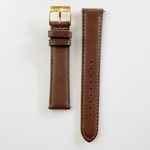 18mm sustainable leather watch strap in brown with gold closures