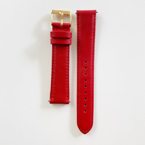 18mm sustainable leather watch strap in red with gold closures
