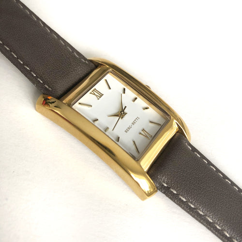 Rectangular Gold watch with sustainable brown strap