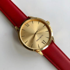 BERG+BETTS Gold watch sustainably made with recycled red leather strap