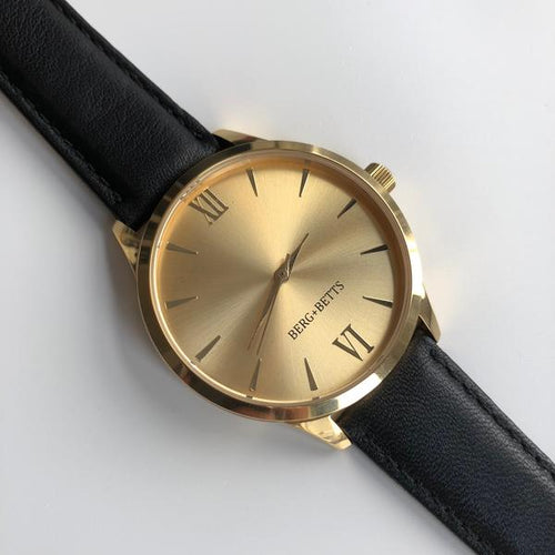 Minimalistic Gold Face Watch with Sustainable Black Leather Band with Buckle Closure