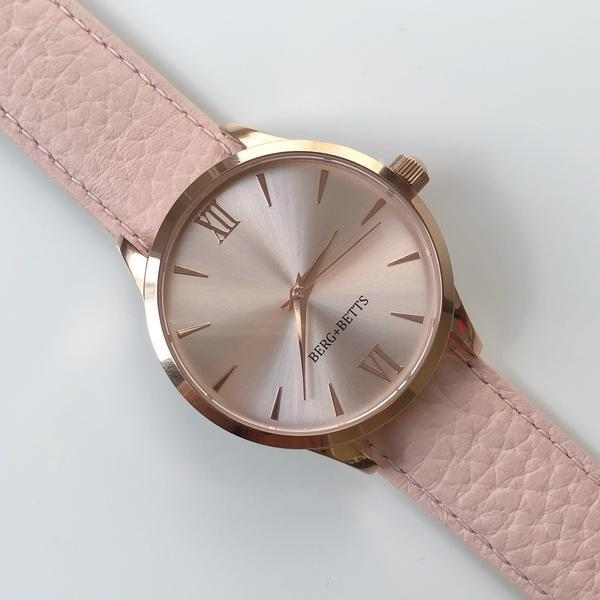 Round Rose Gold Mirrored Watch with Blush Sustainable Leather Strap