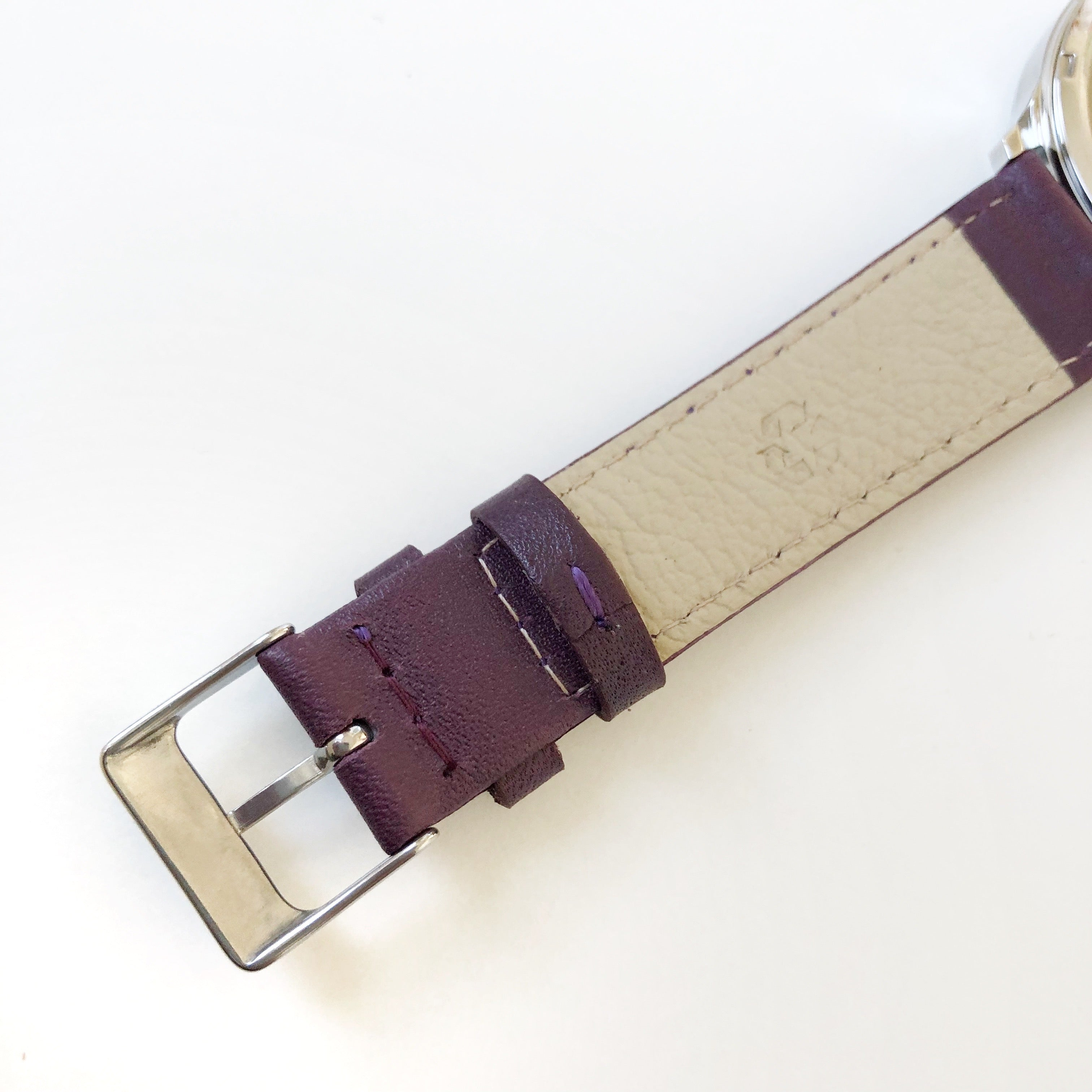 BERG+BETTS Sustainable plum leather band meticulously crafted from surplus leather that would have otherwise gone to waste.