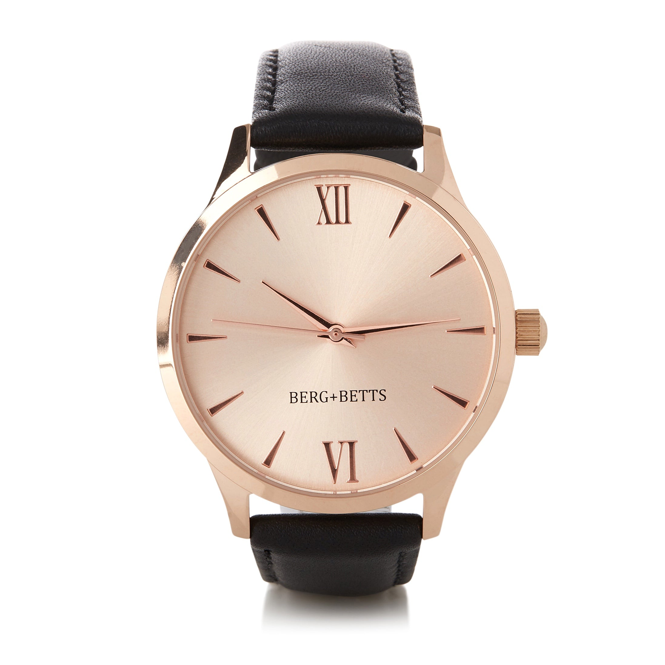 BERG+BETTS Round Rose Gold watch with sustainable black leather strap