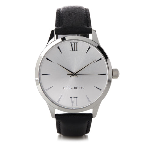 Round silver watch with mirrored face and sustainable black strap from BERG+BETTS