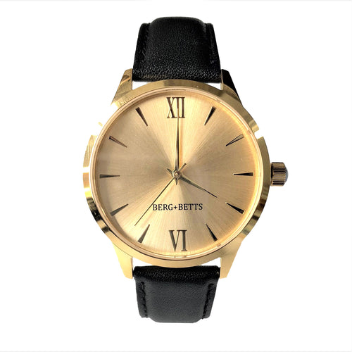 BERG+BETTS Gold mirrored face watch from the mindful collection with Sustainable black strap