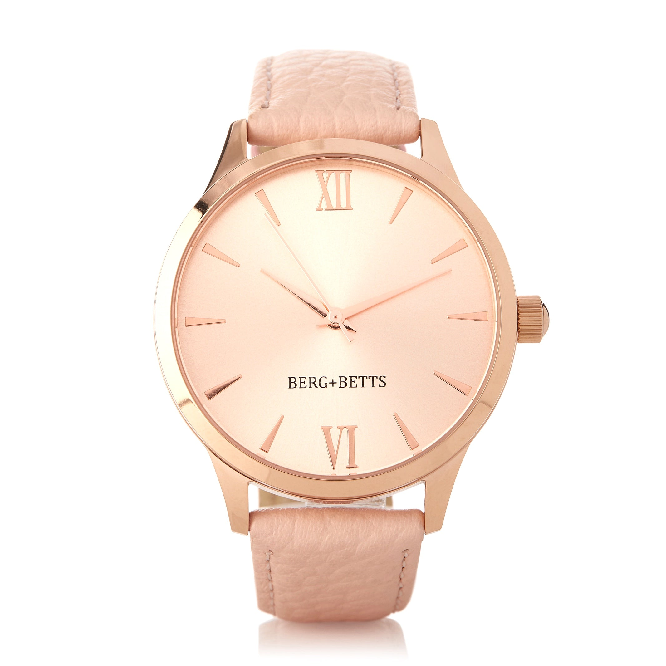 Round watch with mirrored rose gold face and sustainable leather strap in blush from BERG+BETTS