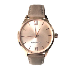 Ethically made Rose Gold watch with sustainable brown leather strap from BERG+BETTS