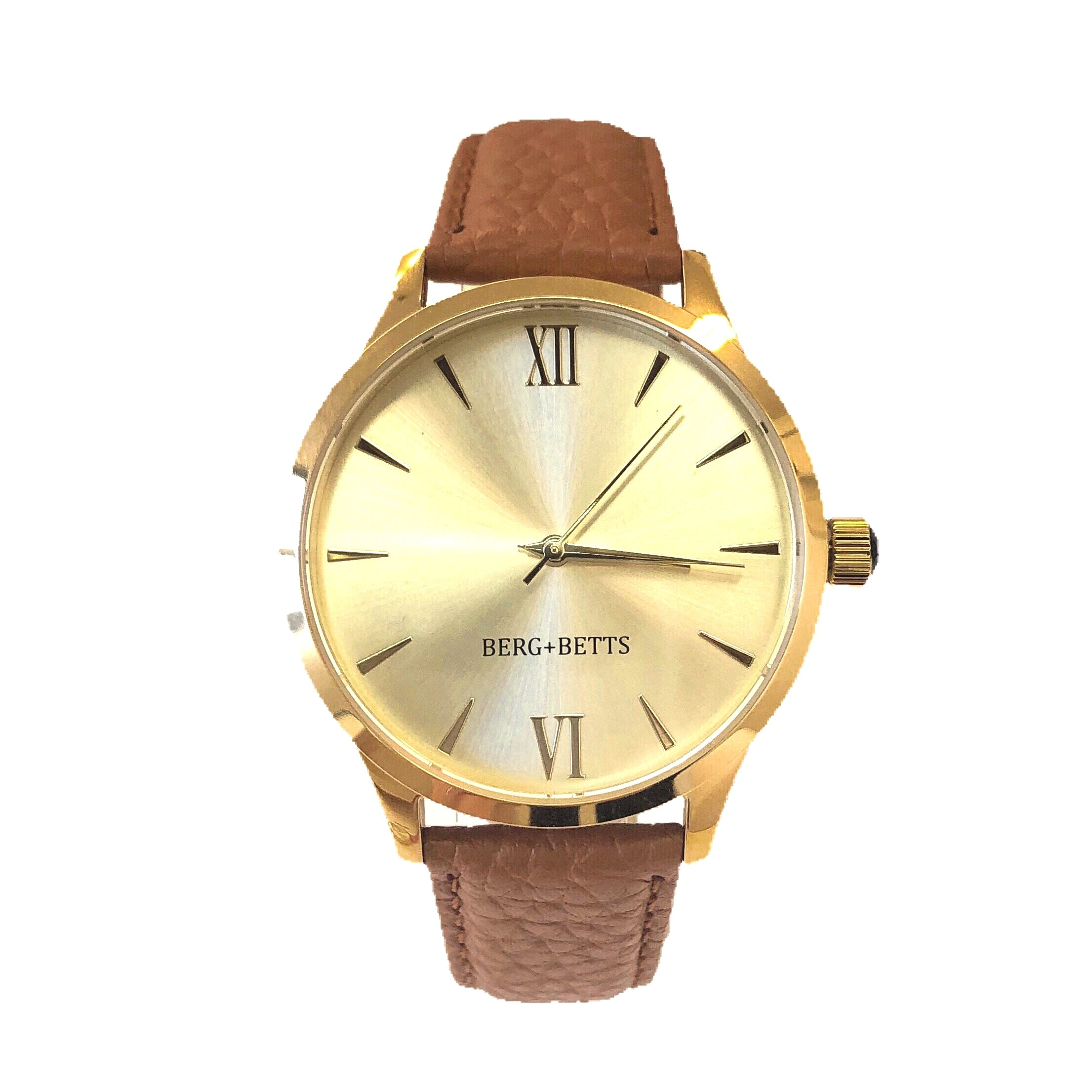BERG+BETTS watch with mirrored gold face and leather sustainable strap