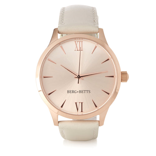 Round Rose Gold Watch with sustainable ivory leather strap from BERG+BETTS