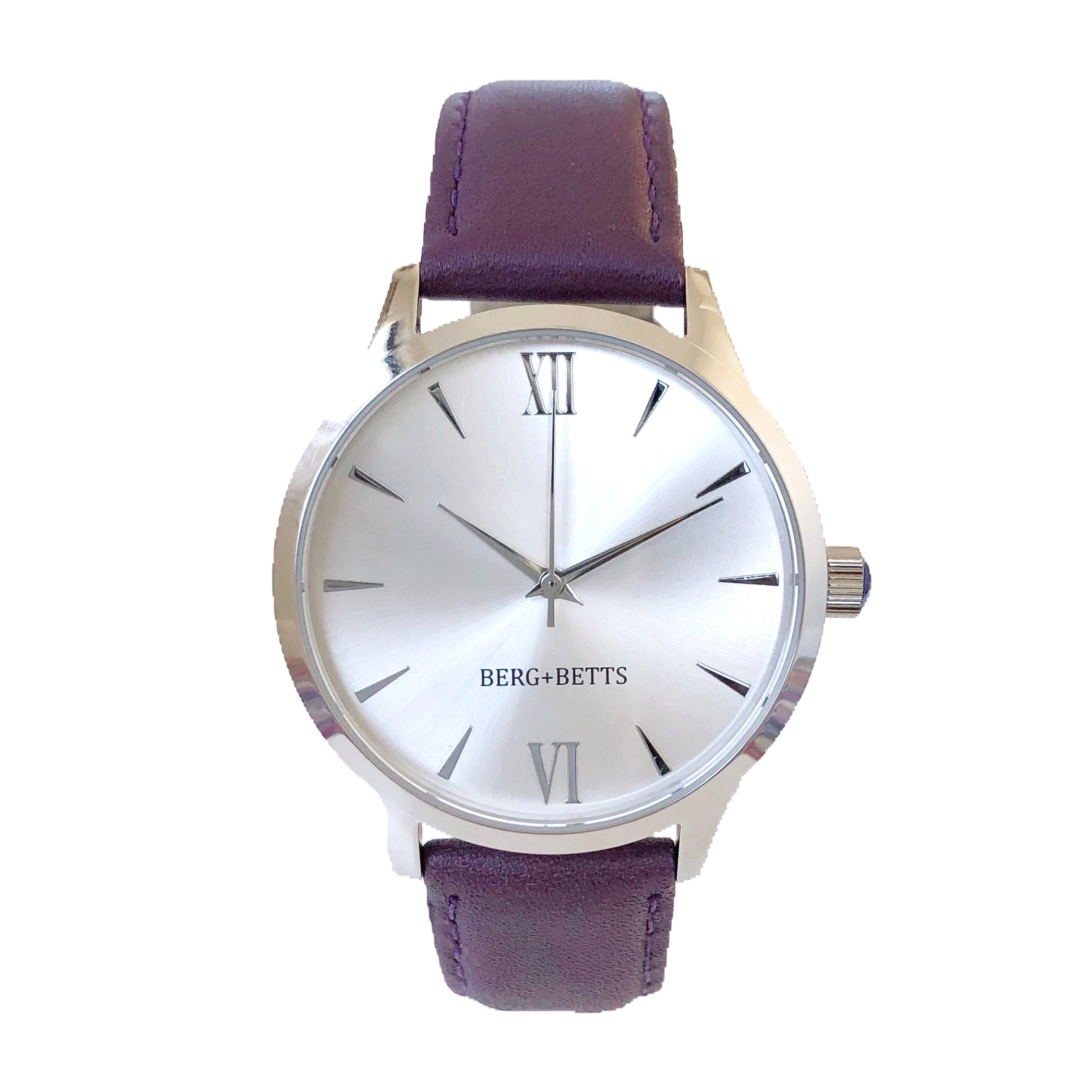 Women's ethically made and sustainable silver watch with plum interchangeable straps from BERG+BETTS
