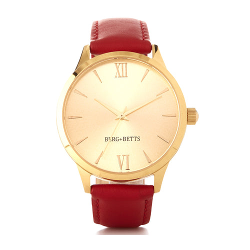BERG+BETTS Gold Mirrored face ethically made watch with sustainable red leather strap