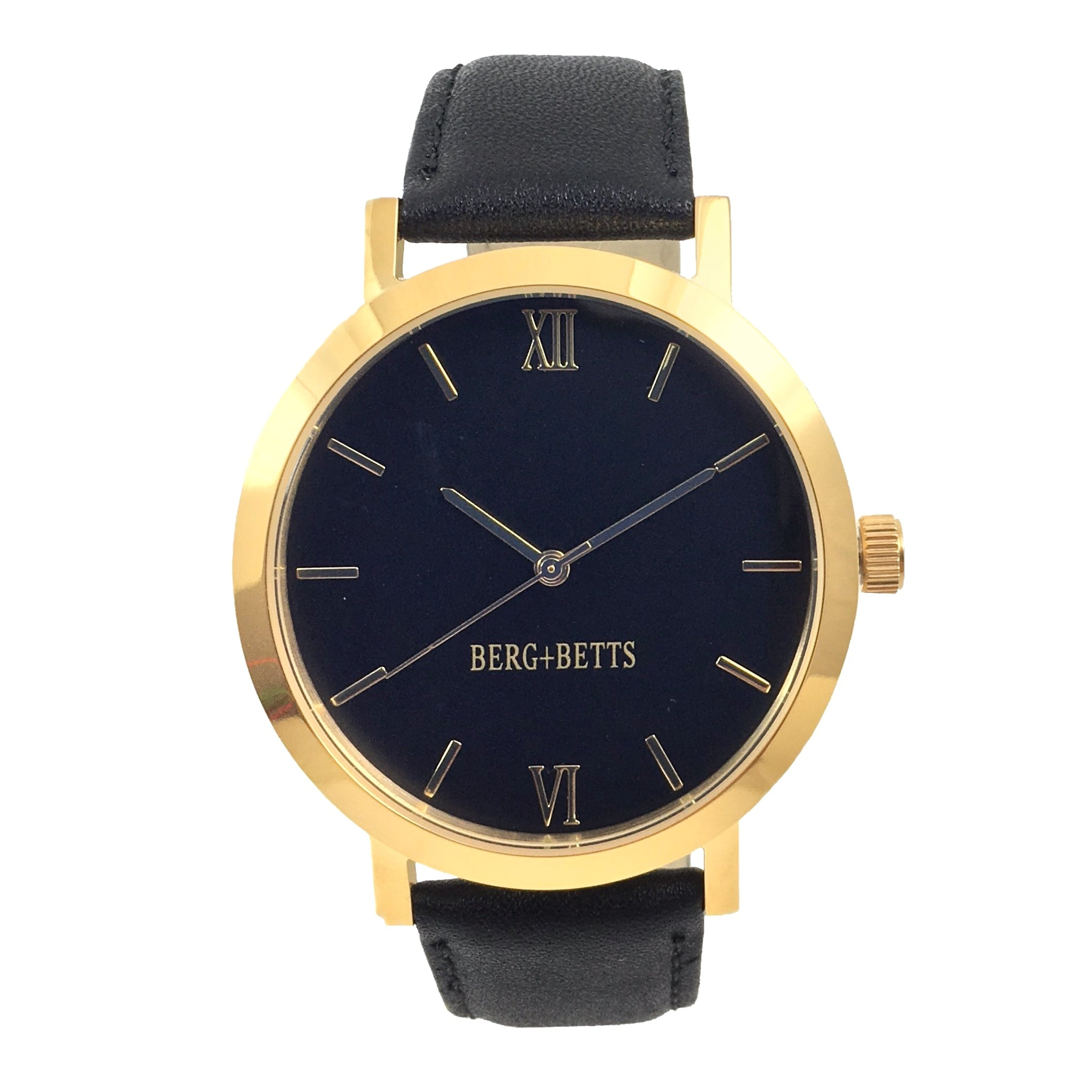 BERG + BETTS | Ethically made Gold watch with black face and sustainable black strap