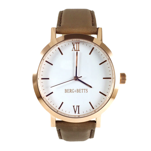 BERG + BETTS | Ethically made Rose Gold watch with sustainable brown leather strap