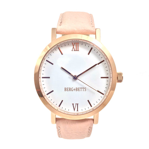 BERG + BETTS | Ethically made Rose Gold watch with sustainable blush pink strap