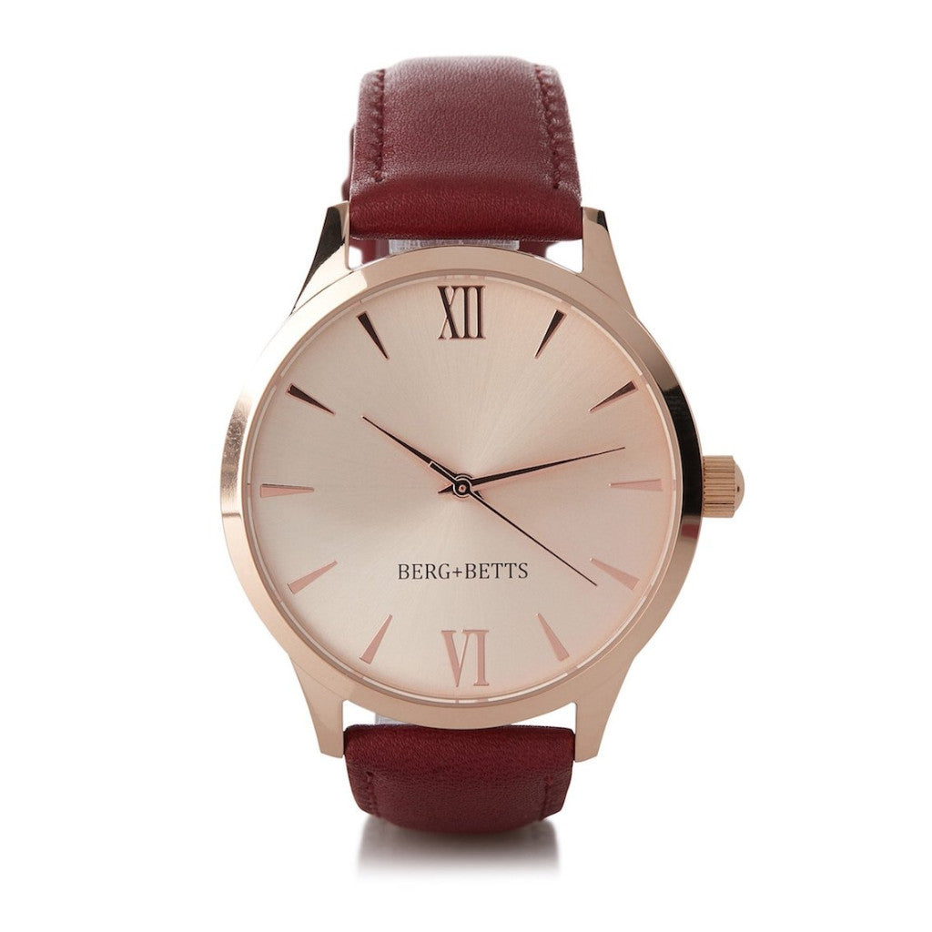 BERG + BETTS | Ethically made Rose Gold watch with sustainable burgundy strap
