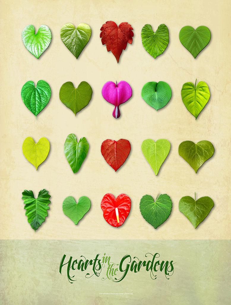 Hearts in the Gardens Poster, Mottled Background