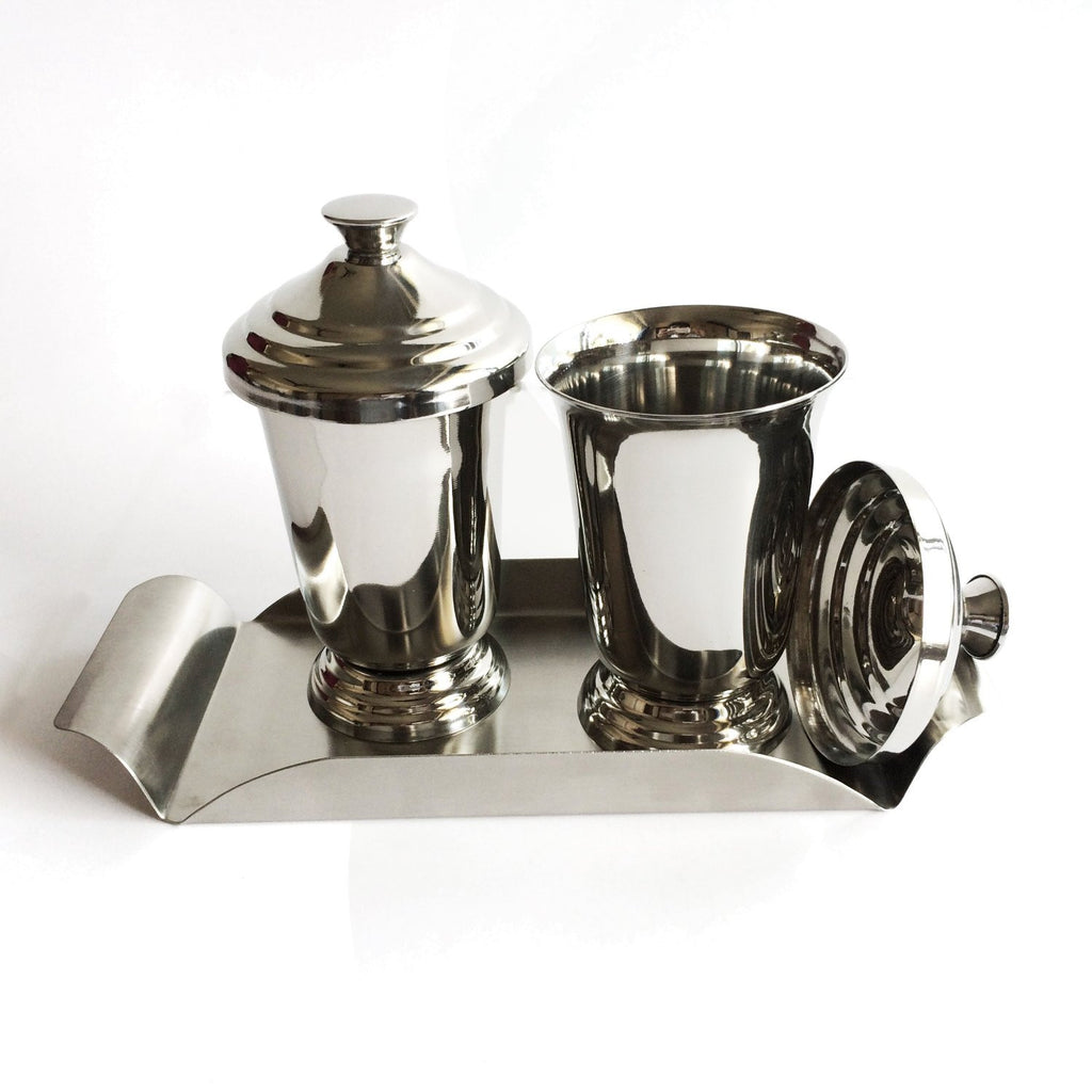 Maharaja Stainless Steel Glasses with Stainless Steel Tray - Hot Muggs - 2