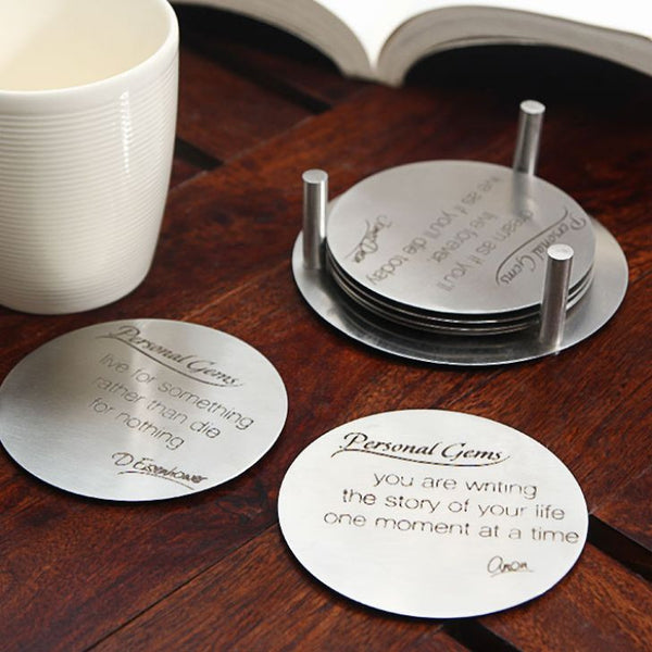 Antislip Message Coaster Set (Set of 6 with Stand)