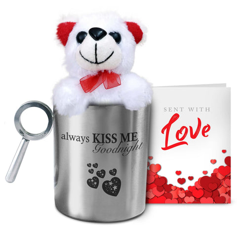 Always Kiss Me Goodnight Mug with Teddy & Card - Hot Muggs - 1
