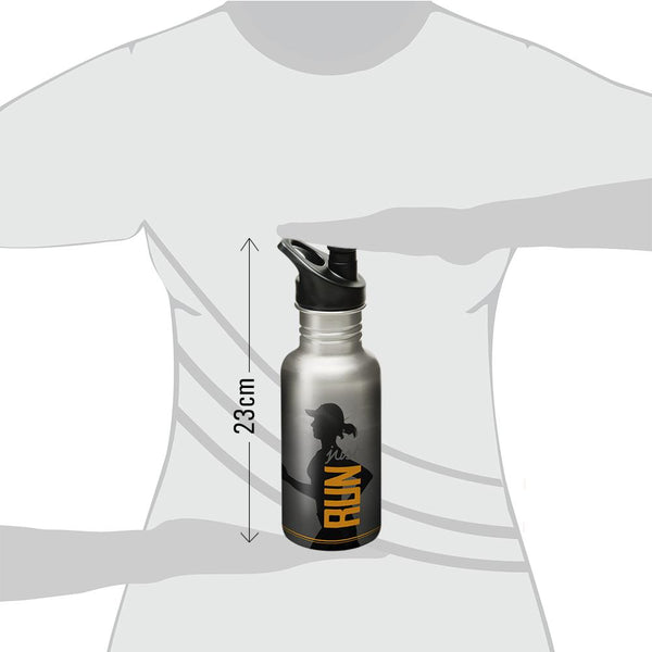 "Women ""Just Run"" - Fitness Series Stainless Steel Sports Water Bottle, 600ml."