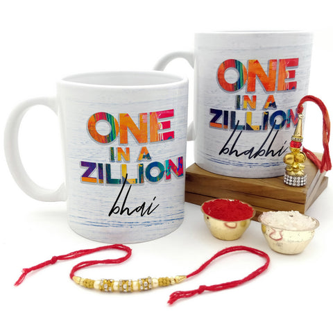 One In A Zillion Bhai & Bhabhi 2 Mugs Set with Rakhi & Lumba