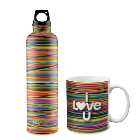 Hot Muggs Colors Combo Gift Set (I Love You Mug and Bottle), 2 Pc - Hot Muggs