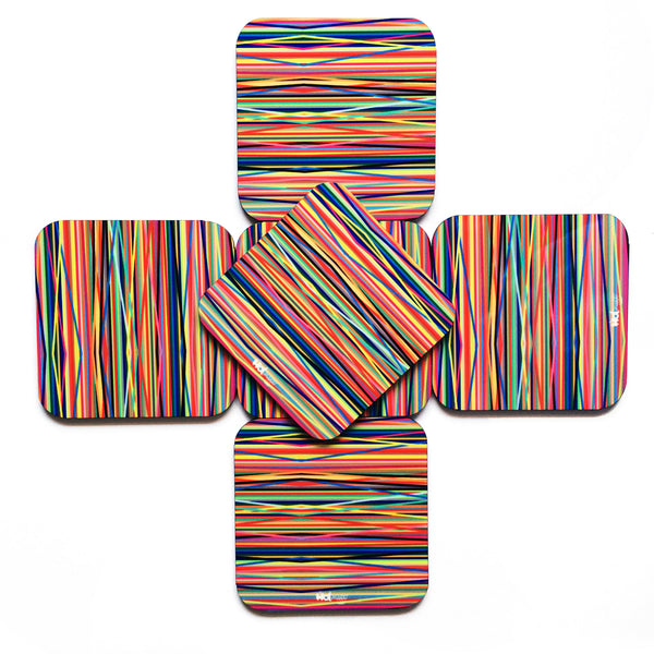 "Hot Muggs ""Colors - Bands"" MDF (Recycled Wood) Coasters; Set of 6 - Hot Muggs - 1"