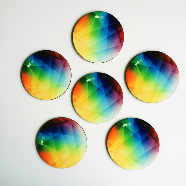 "Hot Muggs ""Colors - Prism"" MDF (Recycled Wood) Coasters; Set of 6 - Hot Muggs - 1"