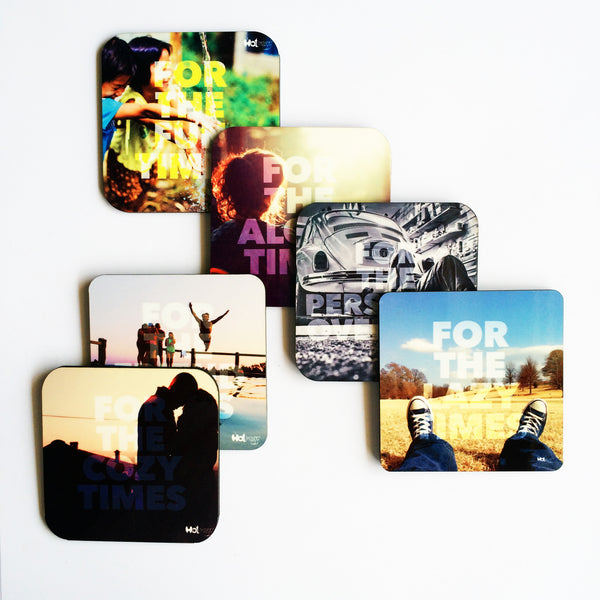 "Hot Muggs ""For Those Times"" MDF (Recycled Wood) Coasters; Set of 6 Unique Designs - Hot Muggs - 1"