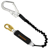 Skylotec BFD FLex Single Elasticised Webbing Lanyard. Snap Hook to Scaff Hook