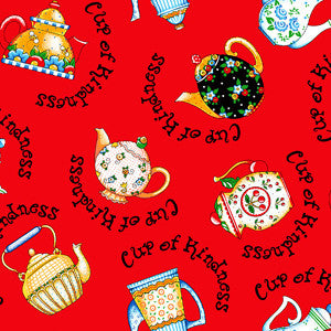 Red Teapot Toss Fabric