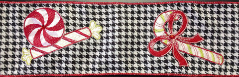 Peppermint Candy Houndstooth Ribbon