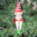 Elf on Mushroom Glass Ornament